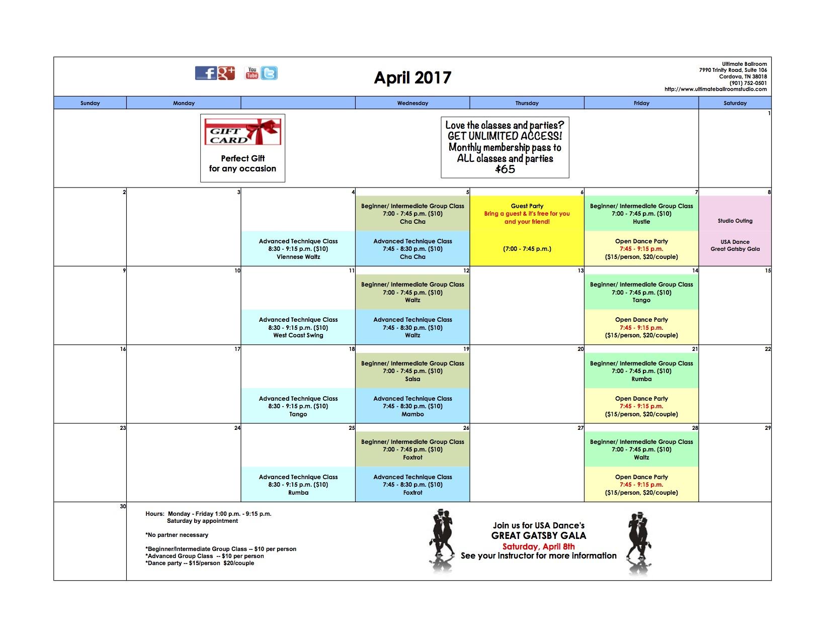 Events Calendar - April 2017 - Ultimate Ballroom