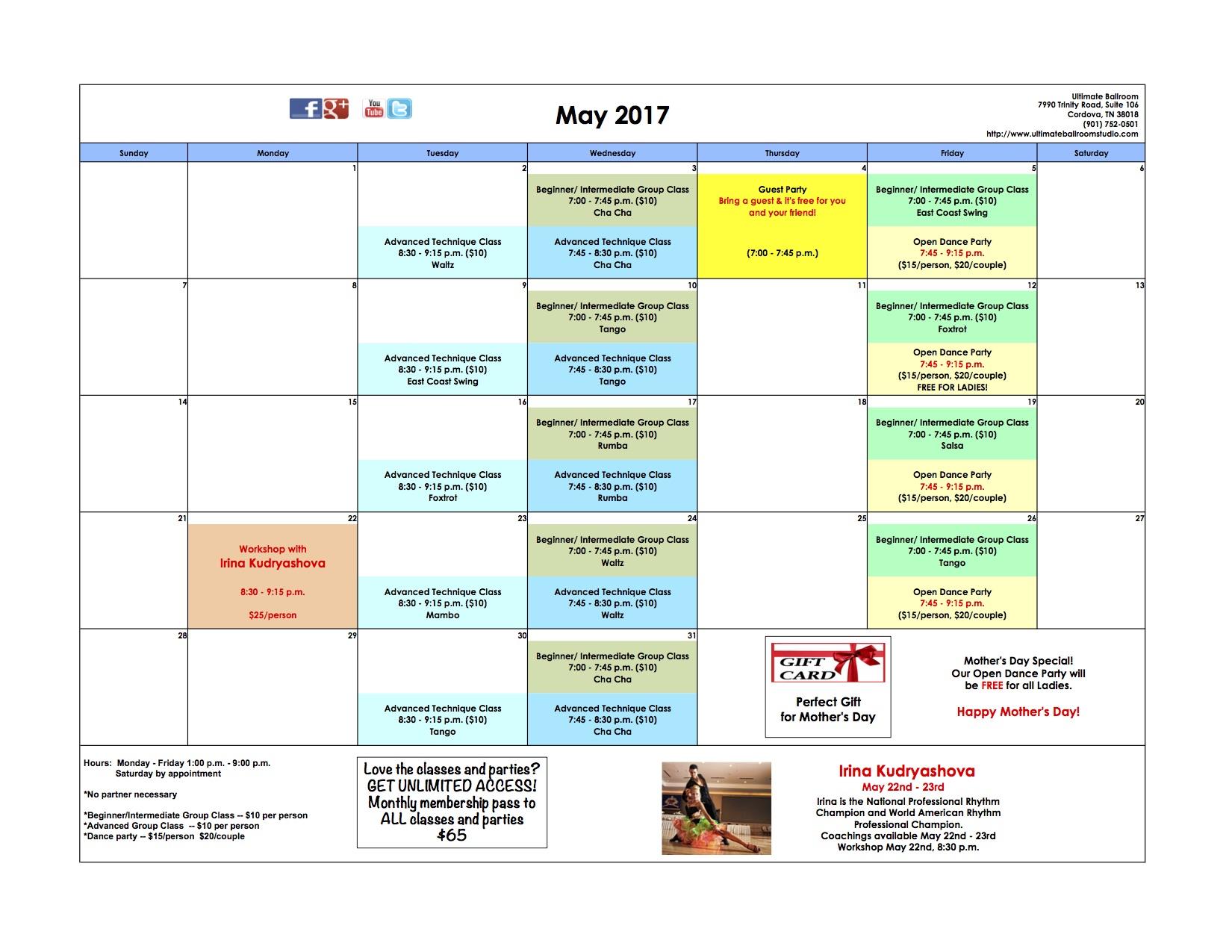 Events Calendar - May 2017 - Ultimate Ballroom