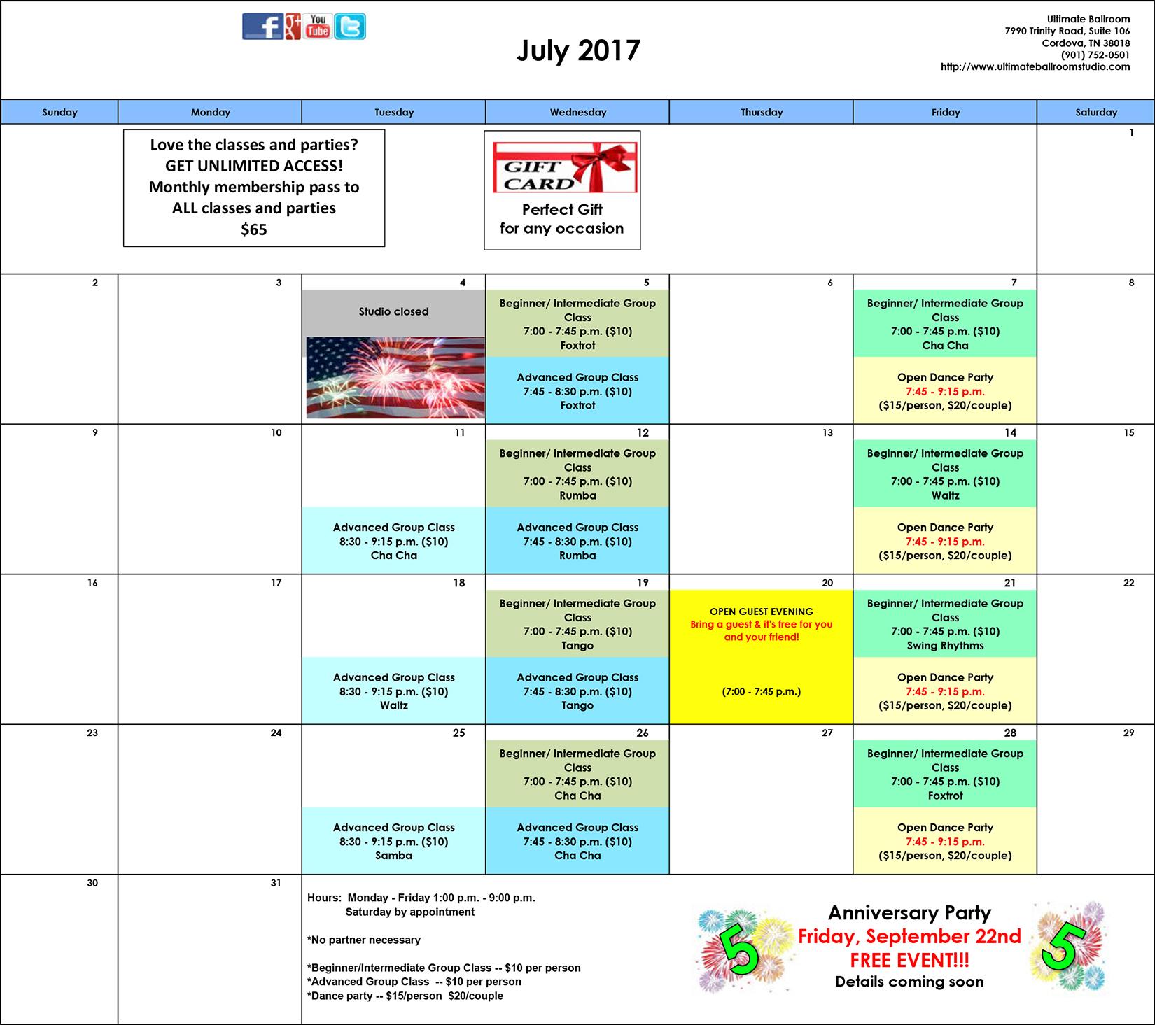 Events Calendar - July 2017 - Ultimate Ballroom