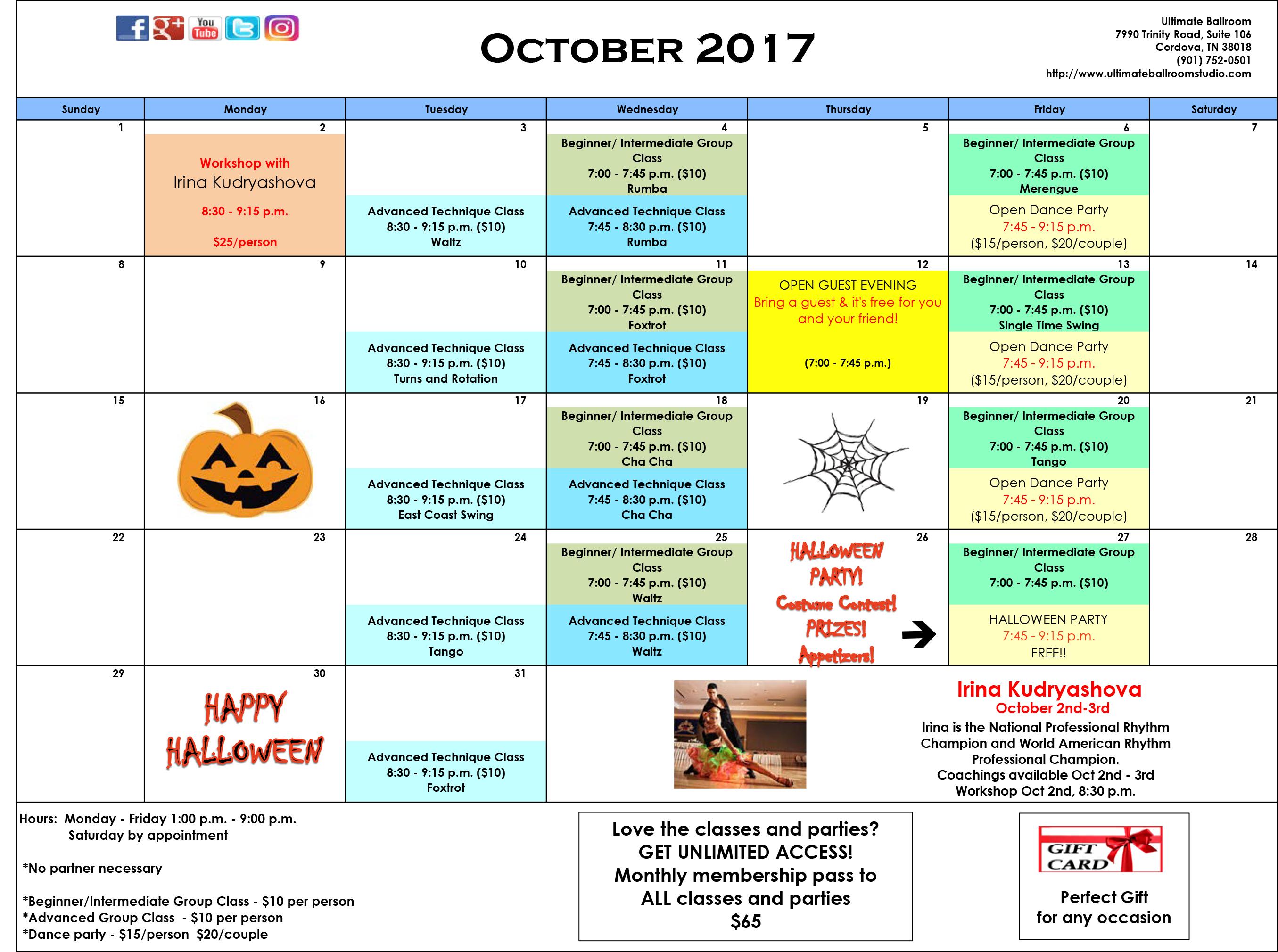 Events Calendar - October 2017 - Ultimate Ballroom