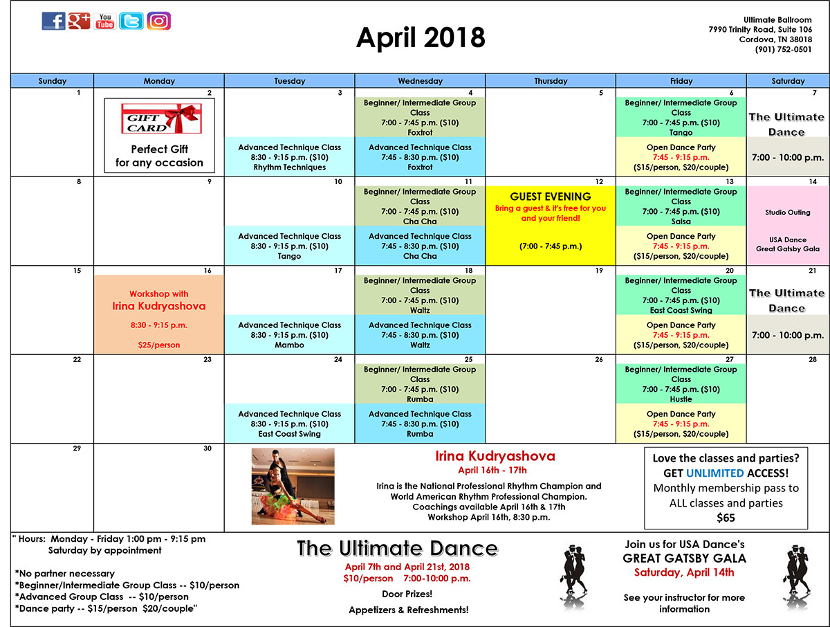 Ballroom Dance Class Calendar - April 2018 - Ultimate Ballroom, Memphis, TN