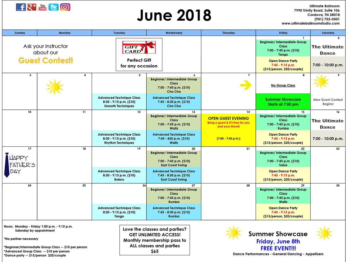 Ballroom Dance Class Calendar - June 2018 - Ultimate Ballroom, Memphis, TN