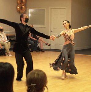 Ultimate Ballroom student Jenny with instructor Misha